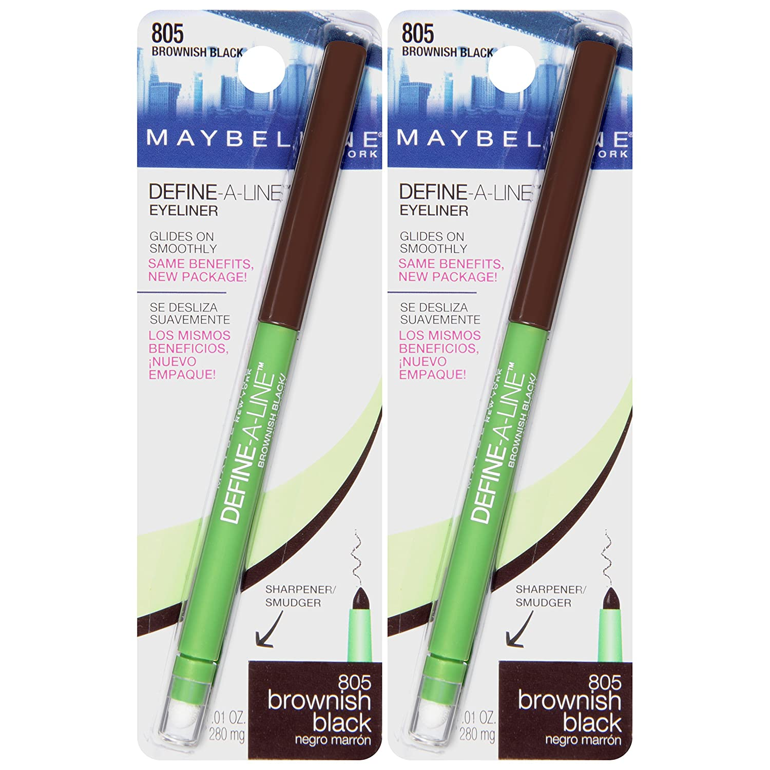 Maybelline New York Define-a-line Eyeliner Makeup, Brownish Black, 2 Count L' Oreal - Cosmetics 041554555646