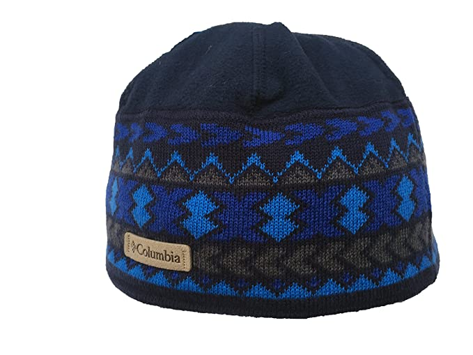 Columbia Men s Oaks Park Beanie (Blue Navy (1725271-465) Leather Logo 6f562884b922