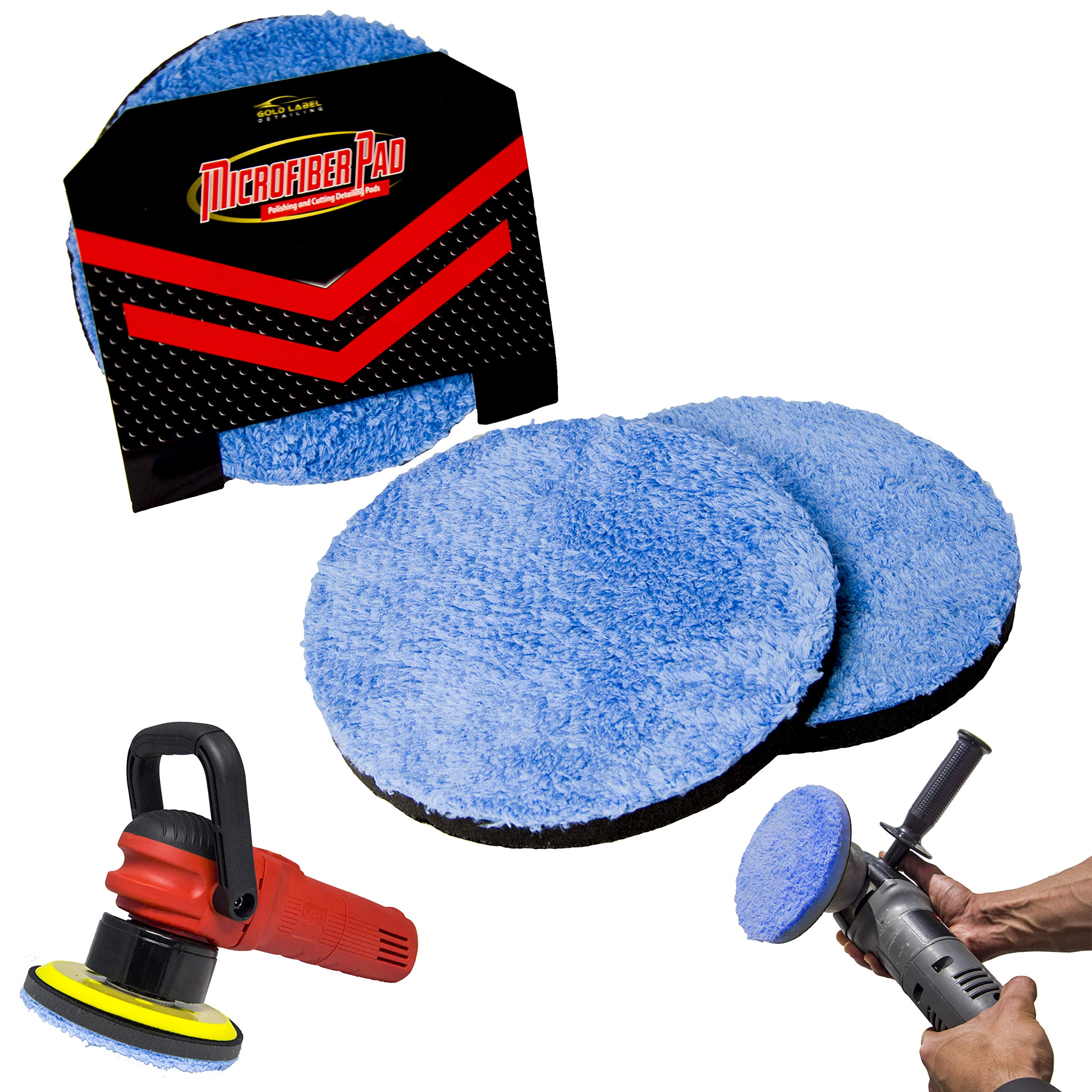 Microfiber DA Buffing and Cutting Pads 2 Pack of 6'', 5'', or 3'' | Quick Detailing Disk | Remove Swirls Scratches and Hazing | Machine Washable (5'', 2x Buffing)