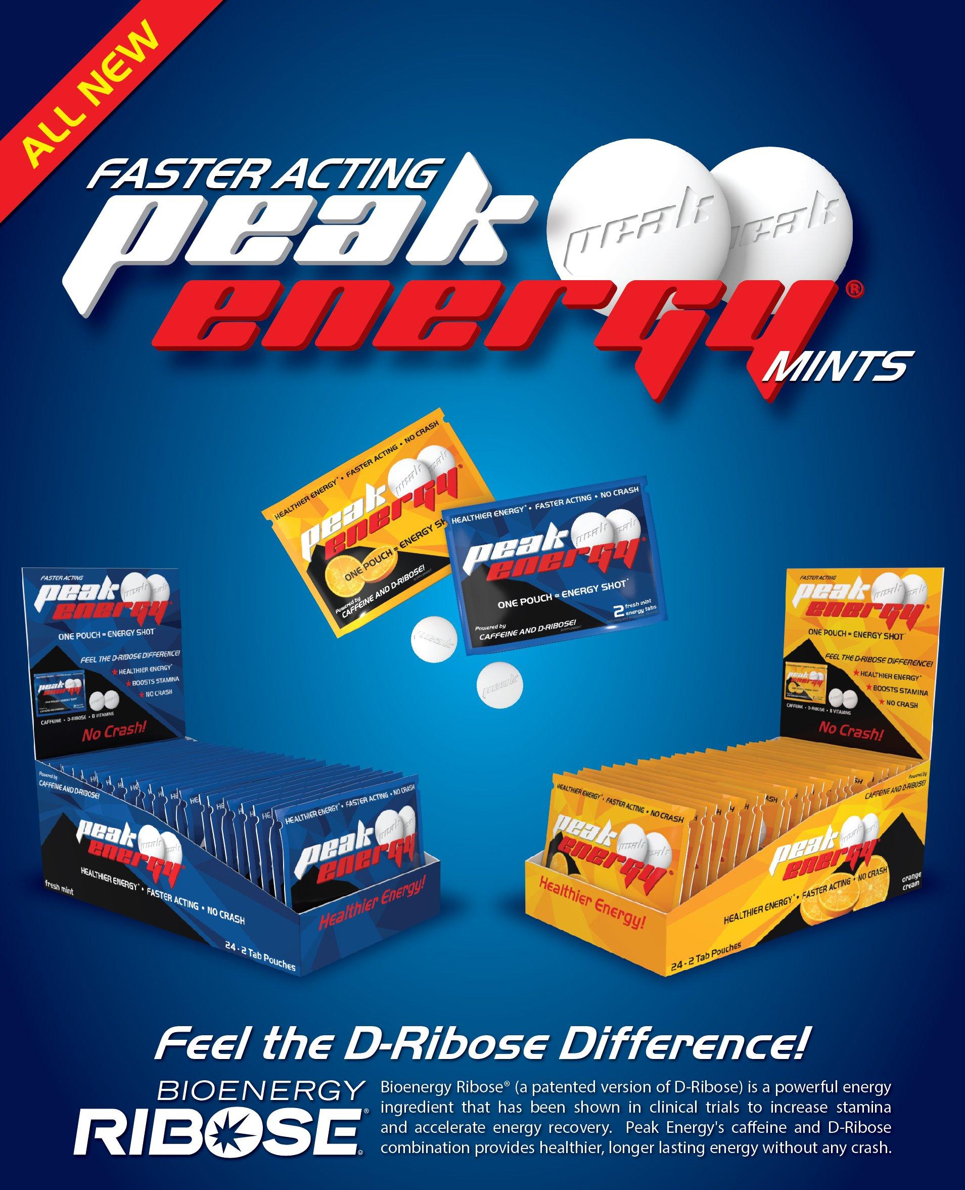 Caffeine and D-Ribose Energy Mints - 100mg Caffeine per mint - 24 Pouch Box - Orange Cream Flavor by Peak Energy (Image #6)