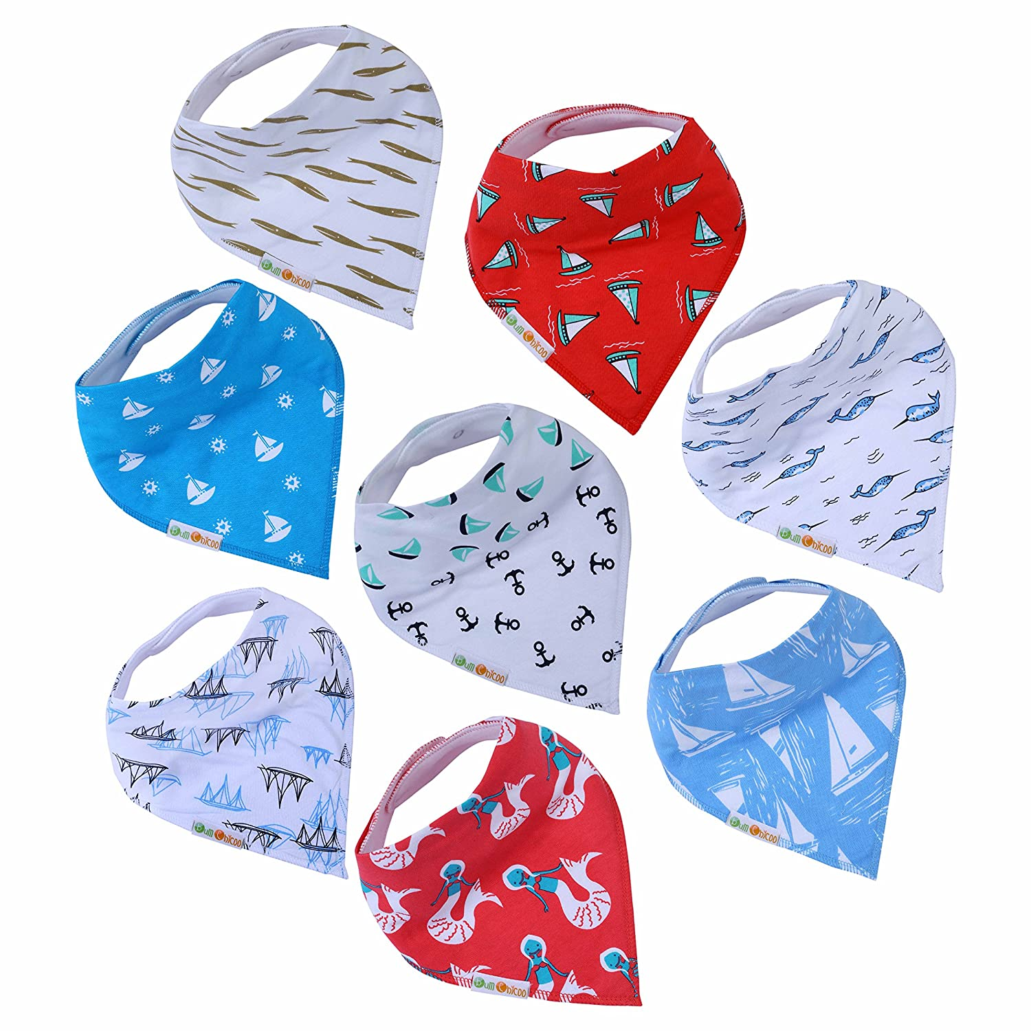 Baby Bandana Drool Bibs,Set of 6 Extra Large Solid Color Bibs,Made with Organic Cotton, Super Absorbent,Adjustable Snaps,Toddler Baby Bibs for Drooling,Teething and Feeding