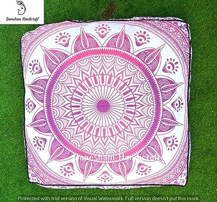 Tapiz de mandala india con cojín de otomán de puf, almohadas de bohemio hechas por