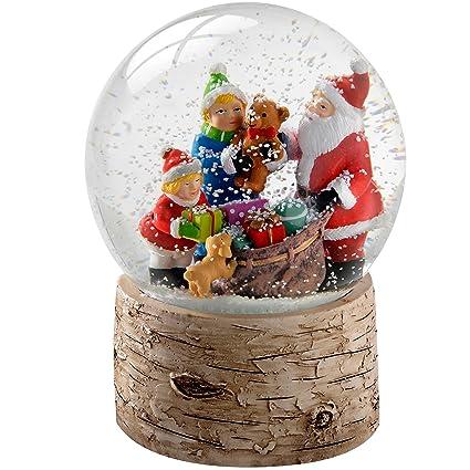 WeRChristmas – Figura de Papá Noel niño y Cachorro con Abedul Base Bola de Nieve Navidad