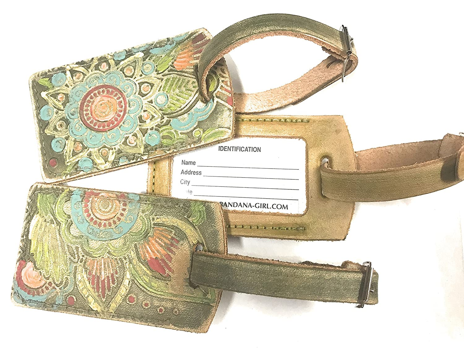 You choose the color Handpainted Rustic Leather Luggage Tag in Mandala or Flora Leaf Style with Name Plate Bag Tag