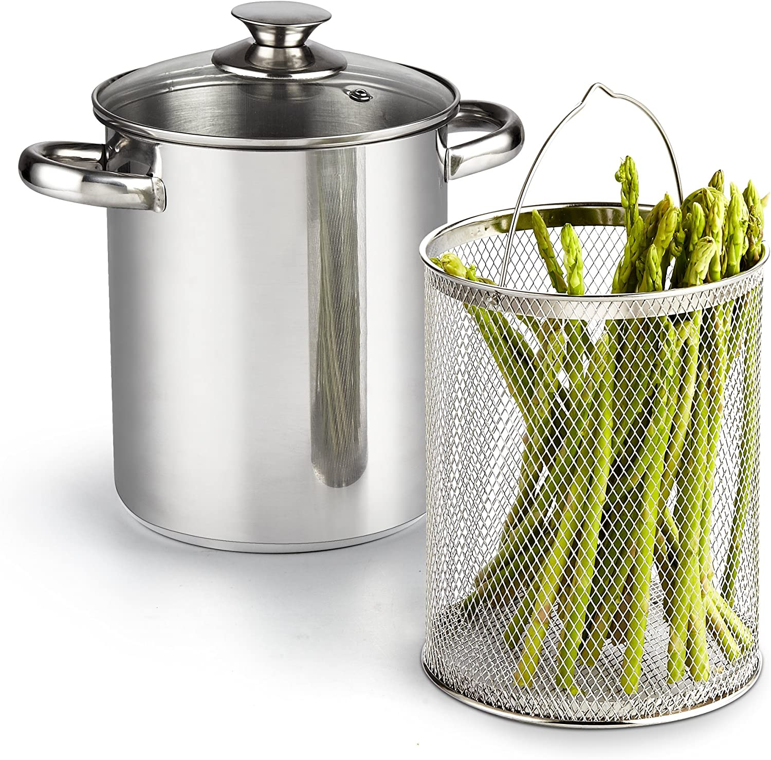 Cook N Home 4 Quart 3-Piece Vegetable Asparagus Steamer Pot, Stainless Steel