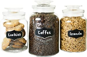 FS Kitchen Round Clear Glass Airtight Lids Chalkboard Canister Jar (Set of 3) with 3 Stick on Labels and Chalk Small