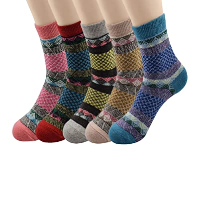 American Trends Women Casual Warm Cozy Sock Wool Knit Winter Vintage Style Cute Thick Thermal Crew Socks