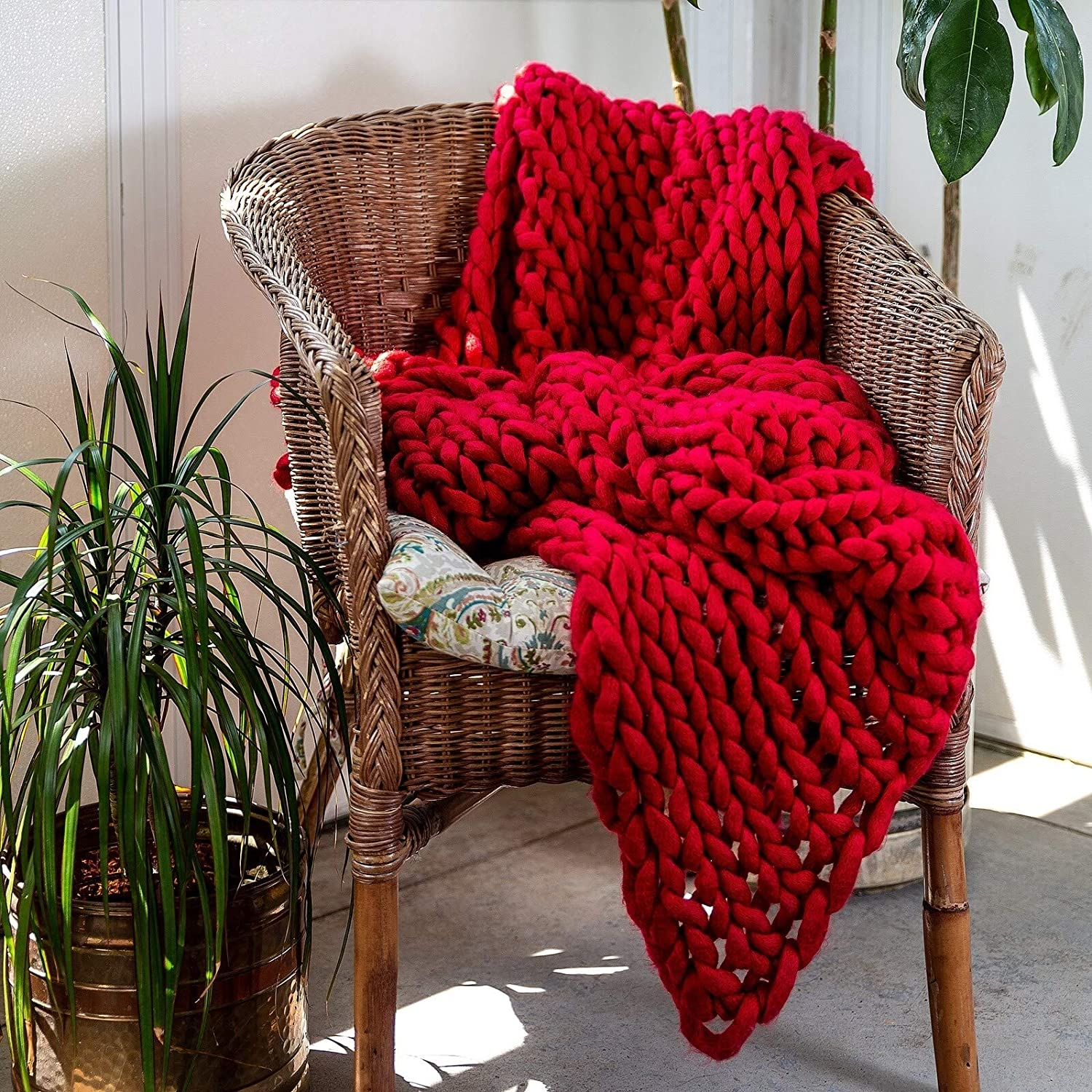 Amazon.com: Red Chunky Knit Throw Blanket Giant Bulky ...