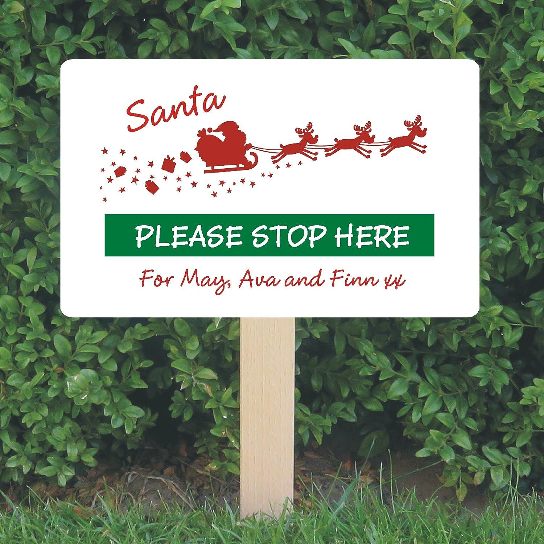 Santa please stop here Personalised Christmas Sticker for DIY Box Frame XMAS