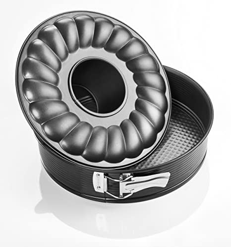 Zenker 6507 Molde Desmontable 2 Fondos, Acero, Negro, 24 cm