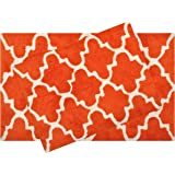Value Homezz ( 2 Piece Bathmat Set ) Trellis design 100% Cotton Tufted Accent Bath Rugs Size 21 x 34 / 17 x 24 Non Skid High Absorbency & Durable Machine washable Bath Mat (Orange)