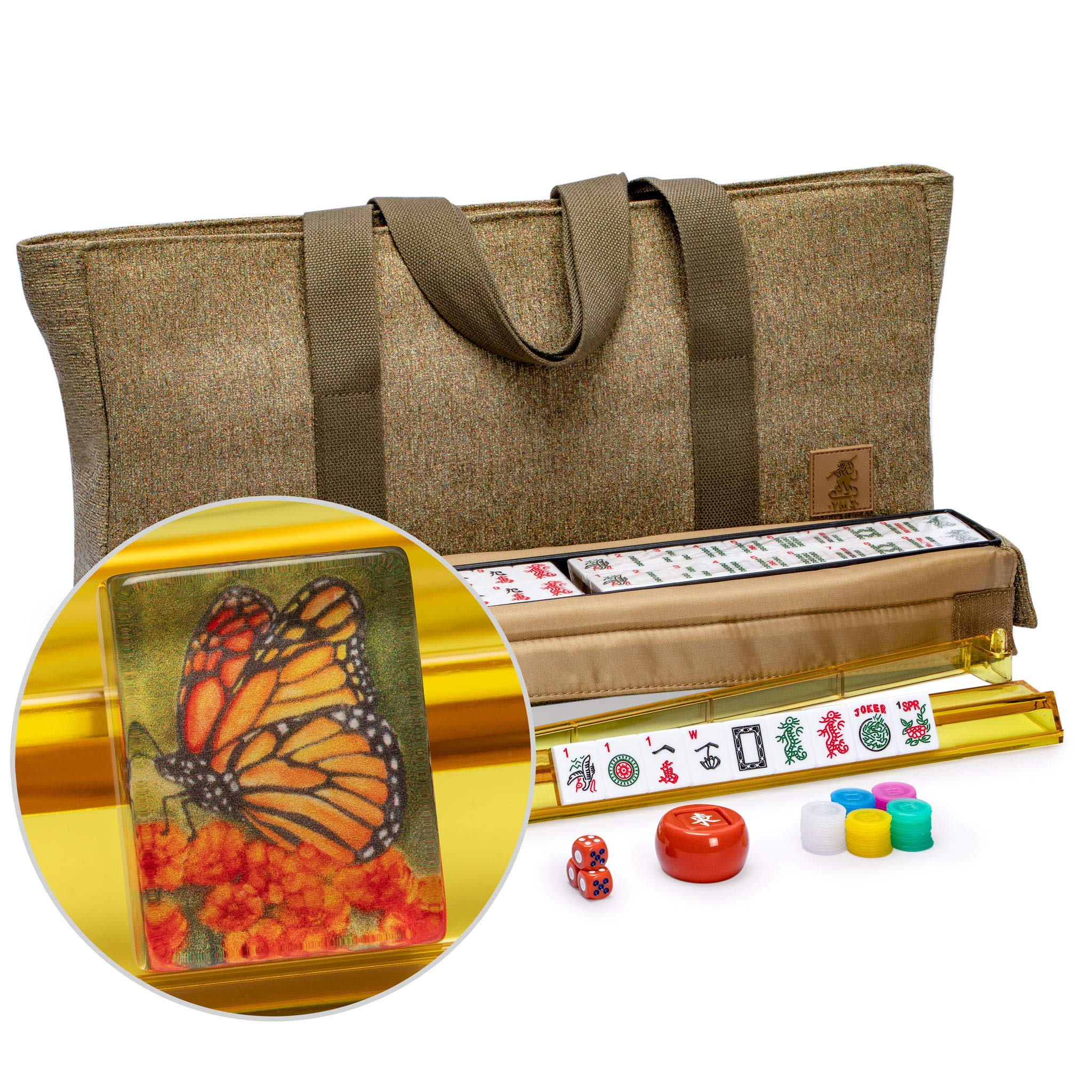Yellow Mountain Imports American Mahjong Set, Papillon Tiles with Olive Green Fabric Case - All Accessories Included