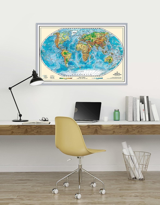 Amazon.de: geosmile Pinnwand Weltkarte Deluxe 90x60 cm mit Echt-Holz ...