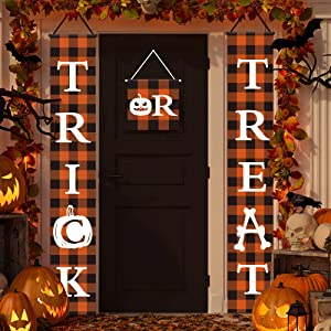 Halloween Banner Trick or Treat Banners Halloween Check Plaid Banners Porch Signs Garden Flags Rustic Halloween Decor for Outdoor Indoor Home Farmhouse Classroom Door Window Wall Garden