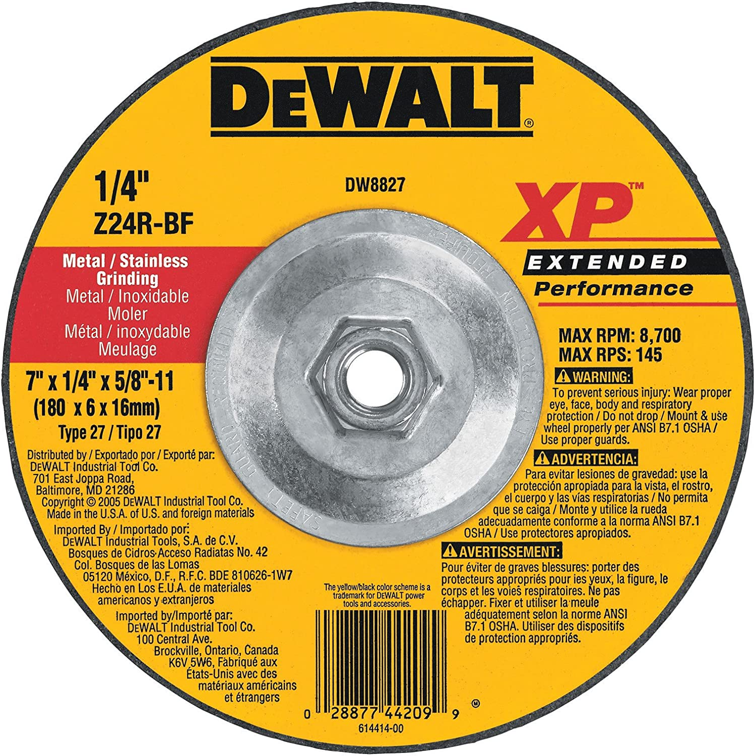 DEWALT DW8809 4-1//2-Inch by 1//4-Inch by 5//8-Inch-11 XP Grinding Wheel