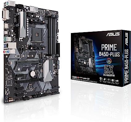 Asus Prime B450 Plus Carte Mère Amd Am4 Au Format Atx Avec Connecteur Rgb Aura Sync Ddr4 3 200 Mhz M 2 Hdmi 2 0b Sata 6 Gb S Et Usb 3 1 Gen 2 Amazon Fr Informatique
