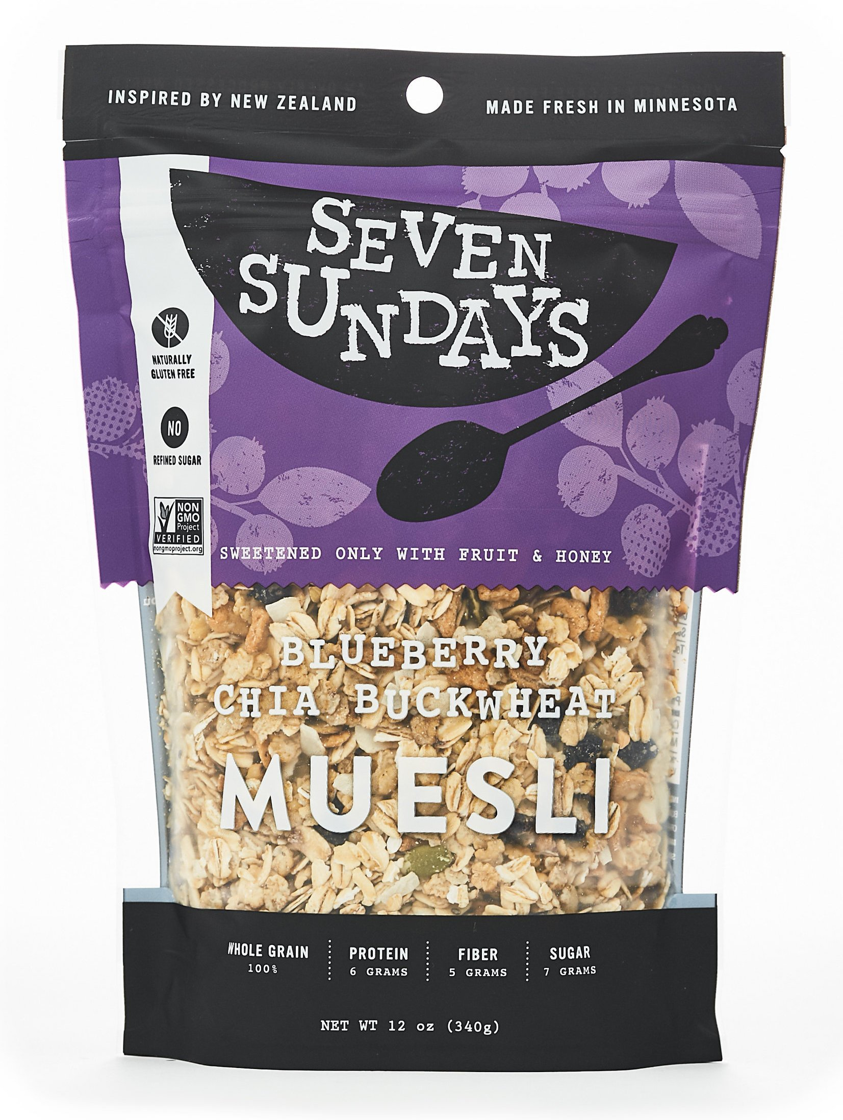 Seven Sundays Gluten Free Muesli – Blueberry Chia Buckwheat – Non-GMO Certified, Hot or Cold Breakfast Muesli {12 oz. pouches, 1 Count