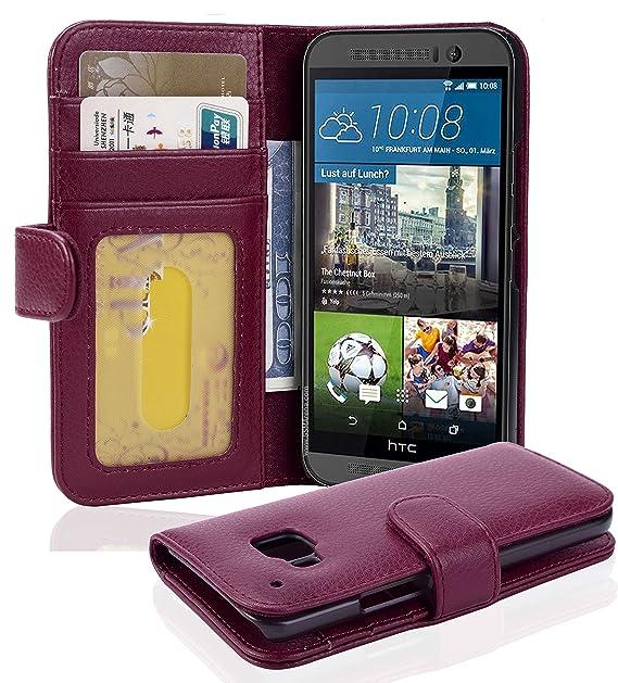 Cadorabo Hülle für HTC ONE (M9) - Hülle in Bordeaux LILA – Handyhülle mit 3 Kartenfächern - Case Cover Schutzhülle Etui Tasch
