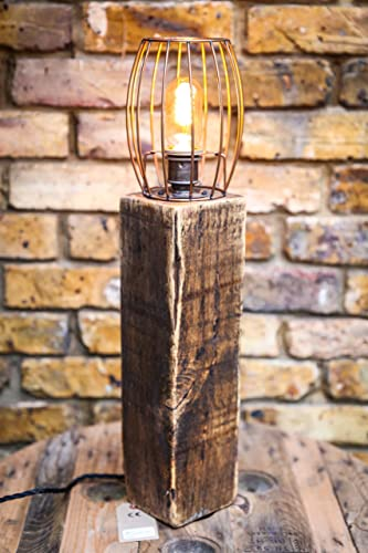 Large reclaimed wood table lamp with copper wire cage by mooboo home large reclaimed wood table lamp with copper wire cage by mooboo home keyboard keysfo Choice Image