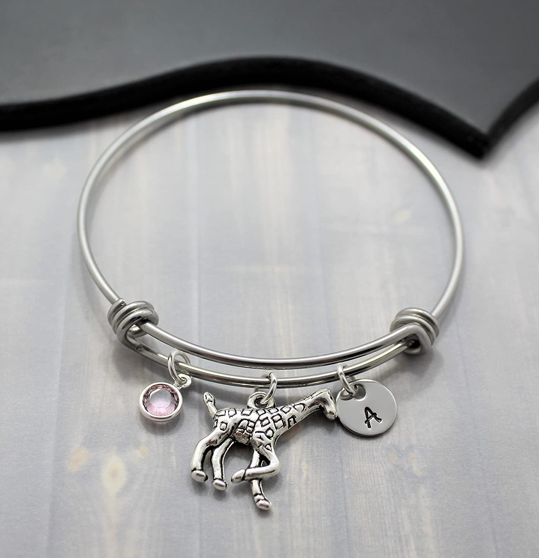 Giraffe Bangle Bracelet - Giraffe Charm Bracelet - Giraffe Jewelry for Women & Girls - Personalized Initial & Birthstone - Fast Shipping