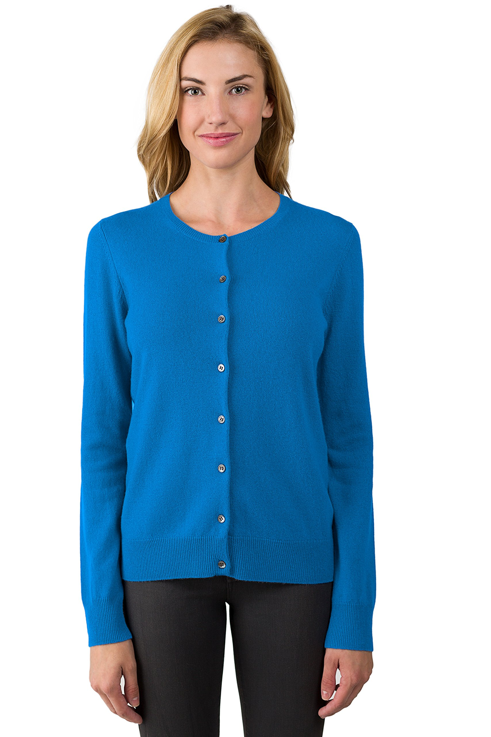 JENNIE LIU Women's 100% Cashmere Button Front Long Sleeve Crewneck Cardigan Sweater (S, OceanBlue)