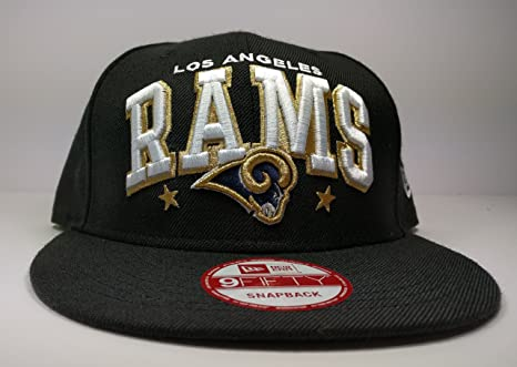 best service b685c 1791f Image Unavailable. Image not available for. Color  New Era Los Angeles Rams  9Fifty Black Arch Script Logo Adjustable Snapback Hat NFL