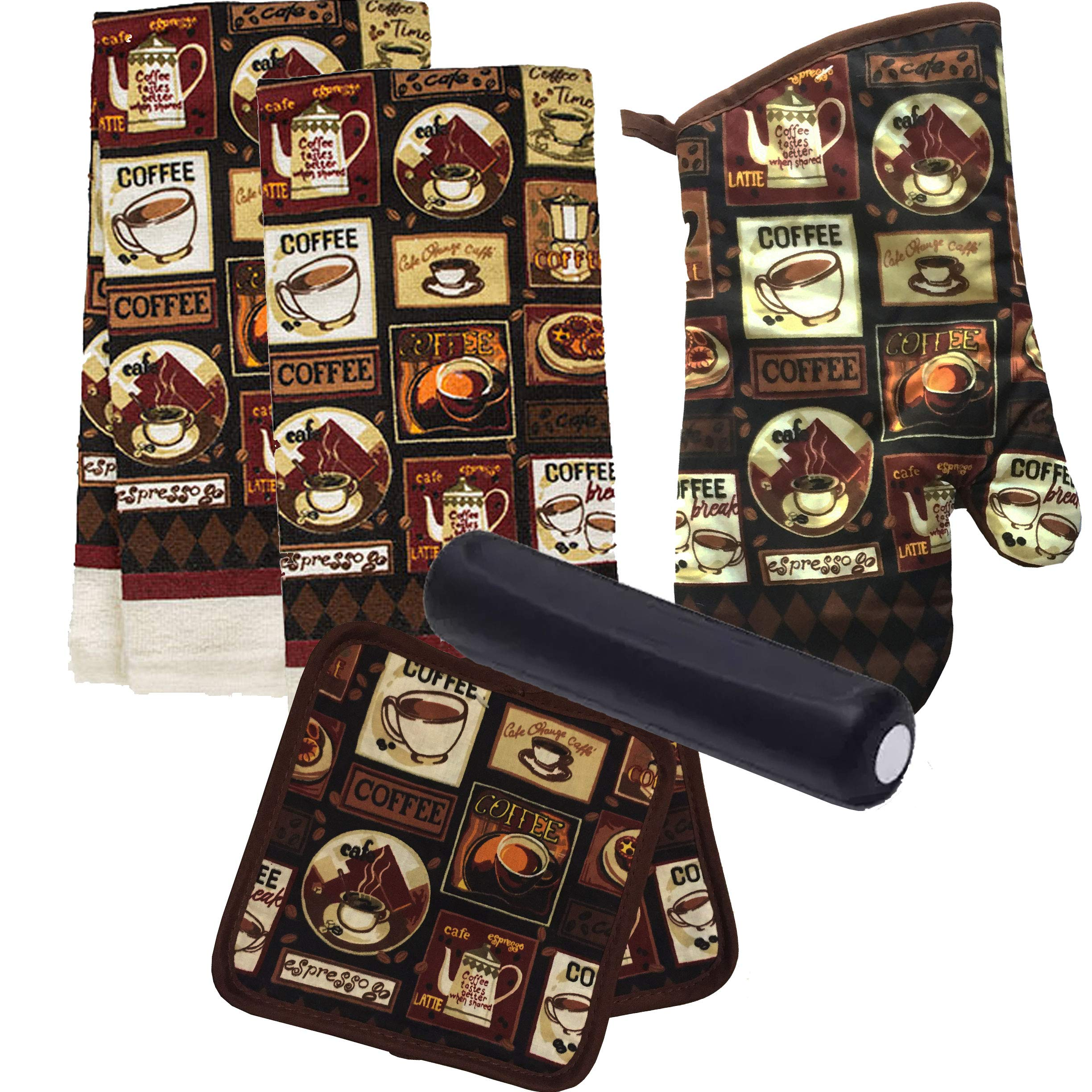 Dublin's Treasure Isle Kitchen Linen Set (Includes: one oven mitt, two pot holders, two dish towels and BONUS spoon rest) (Coffee of Ages)