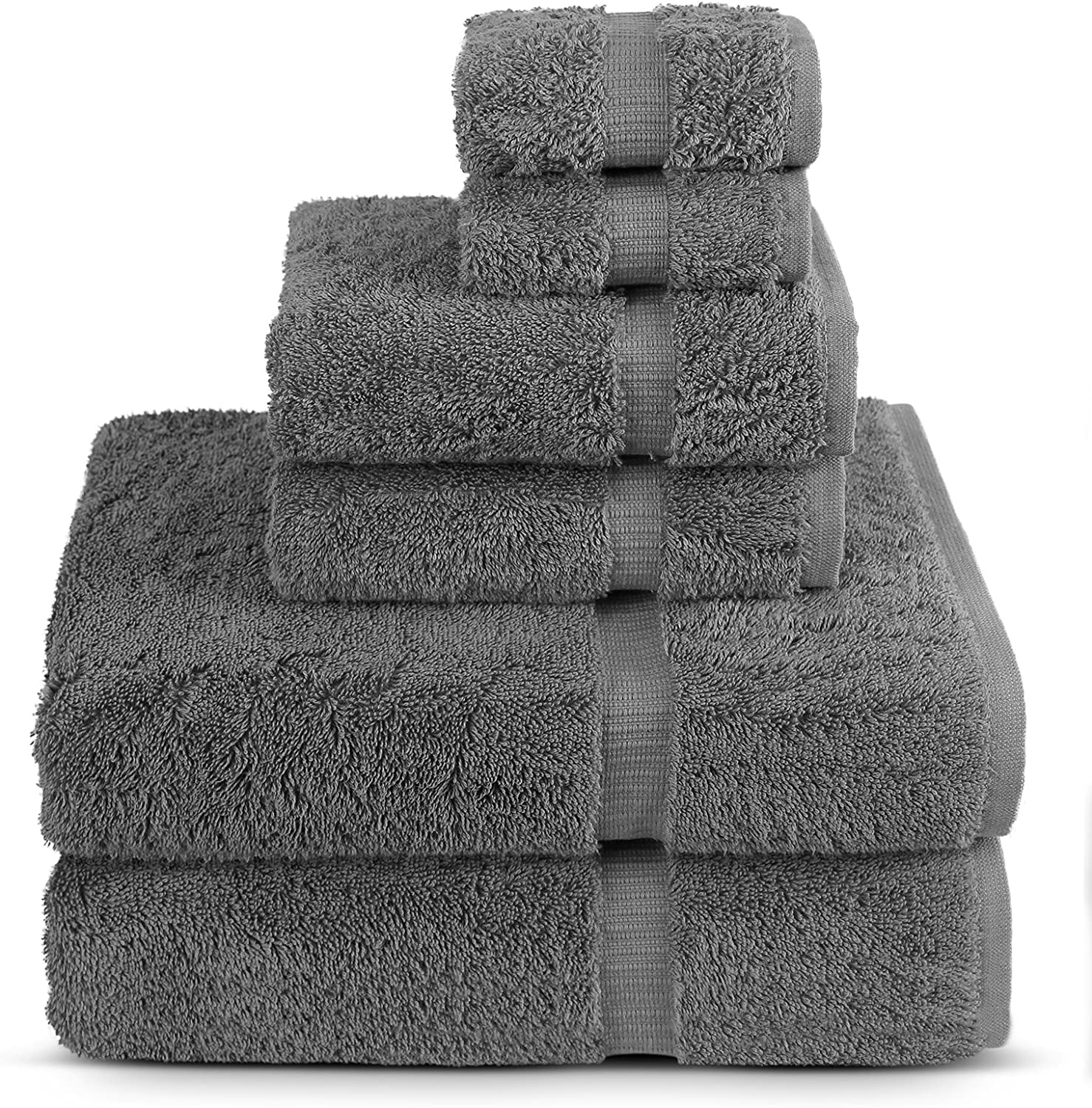 6 Piece Turkish Luxury Turkish Cotton Towel Set - Eco Friendly, 2 Bath Towels, 2 Hand Towels, 2 Wash Clothes by Turkuoise Turkish Towel (Grey)