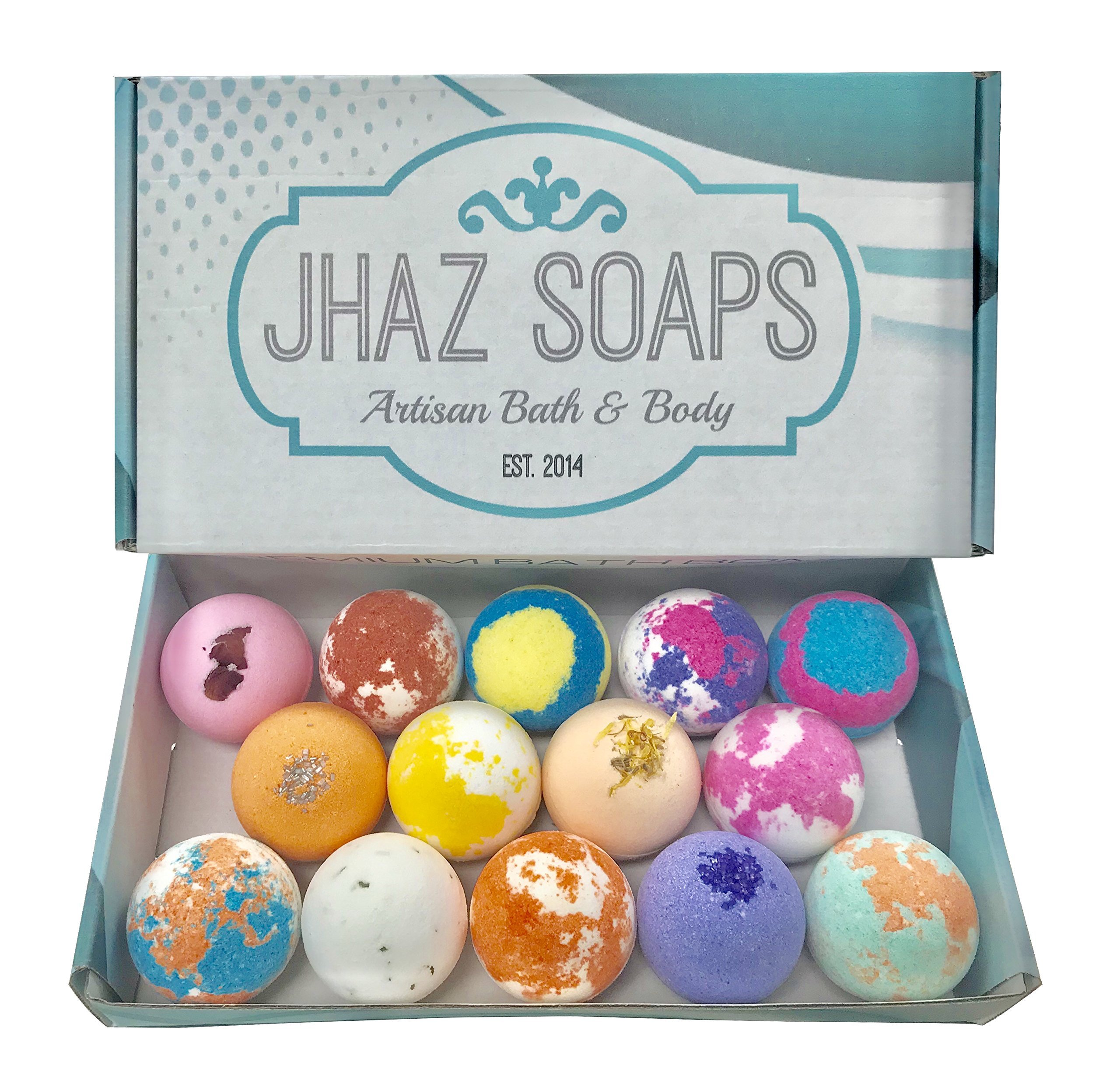14 Bath Bombs by Jhaz Soaps: Gift Set, Lush Bath Experience, Colorful Bath Bomb, Non staining, Premium Colors and Moisturizing Ingredients, Made in the USA by Jhaz Soaps (Image #2)