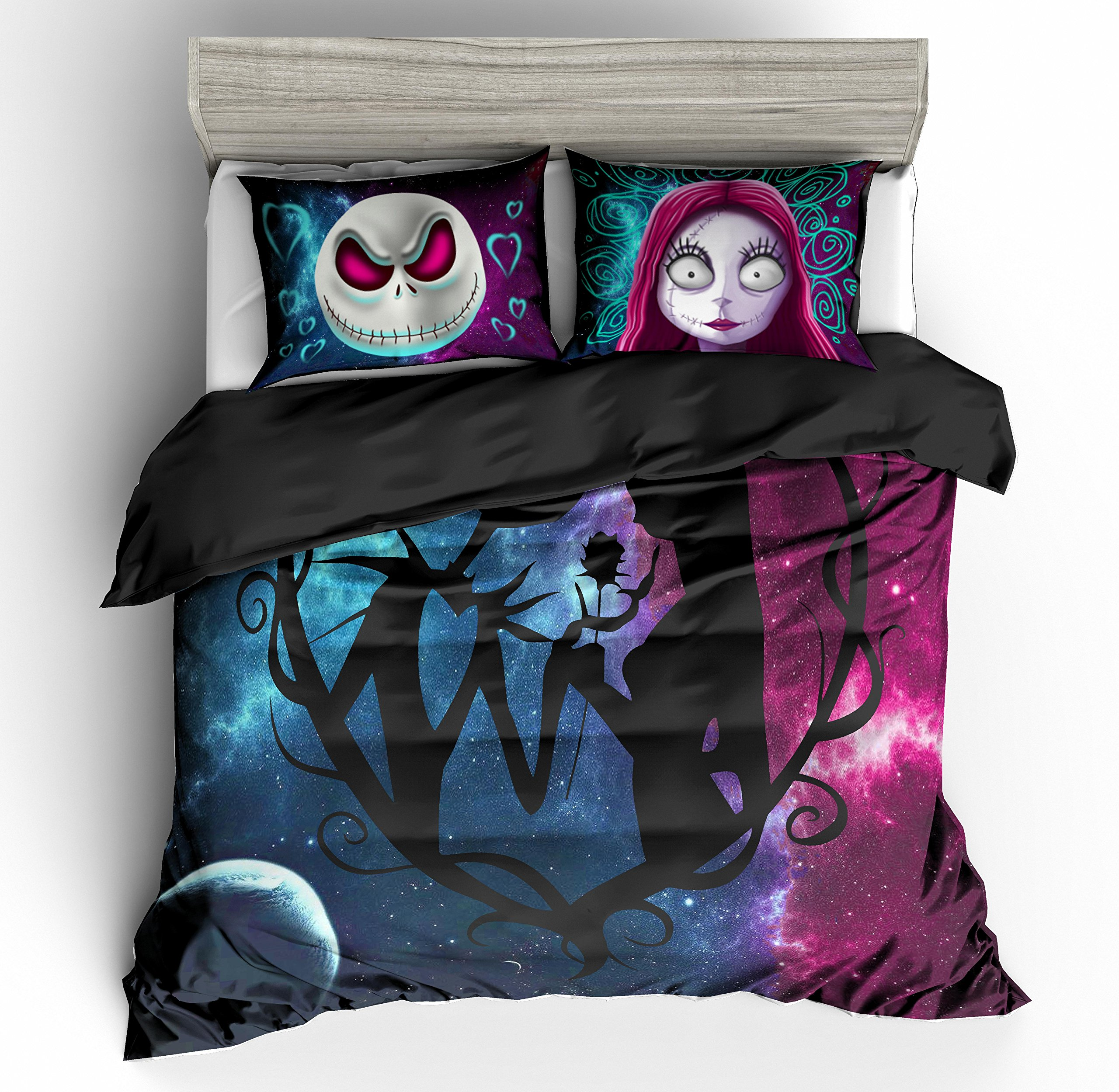 KTLRR 3D Nightmare Before Christmas Duvet Cover Sets,Jack and Sally Valentine's Day Rose Decor, 100% Microfiber Galaxy Bedding Set with Pillow Shams 3PCS Bedding,No Comforter (Christmas, Queen 3pcs)