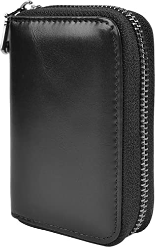 Oil Leather Yuhan Pretty Womens Card Holder Wallet RFID Blocking Leather Zipper Small Purse Black