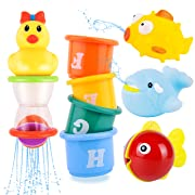 Rainbrace Bath Toys, Baby Bathtime Toys Fun Animals and Baby Bath Shower Floating Toys Stacking Cups 8pcs Cute Educational Toys for Toddlers Boys & Girls with Mesh Bath Toy Organizer
