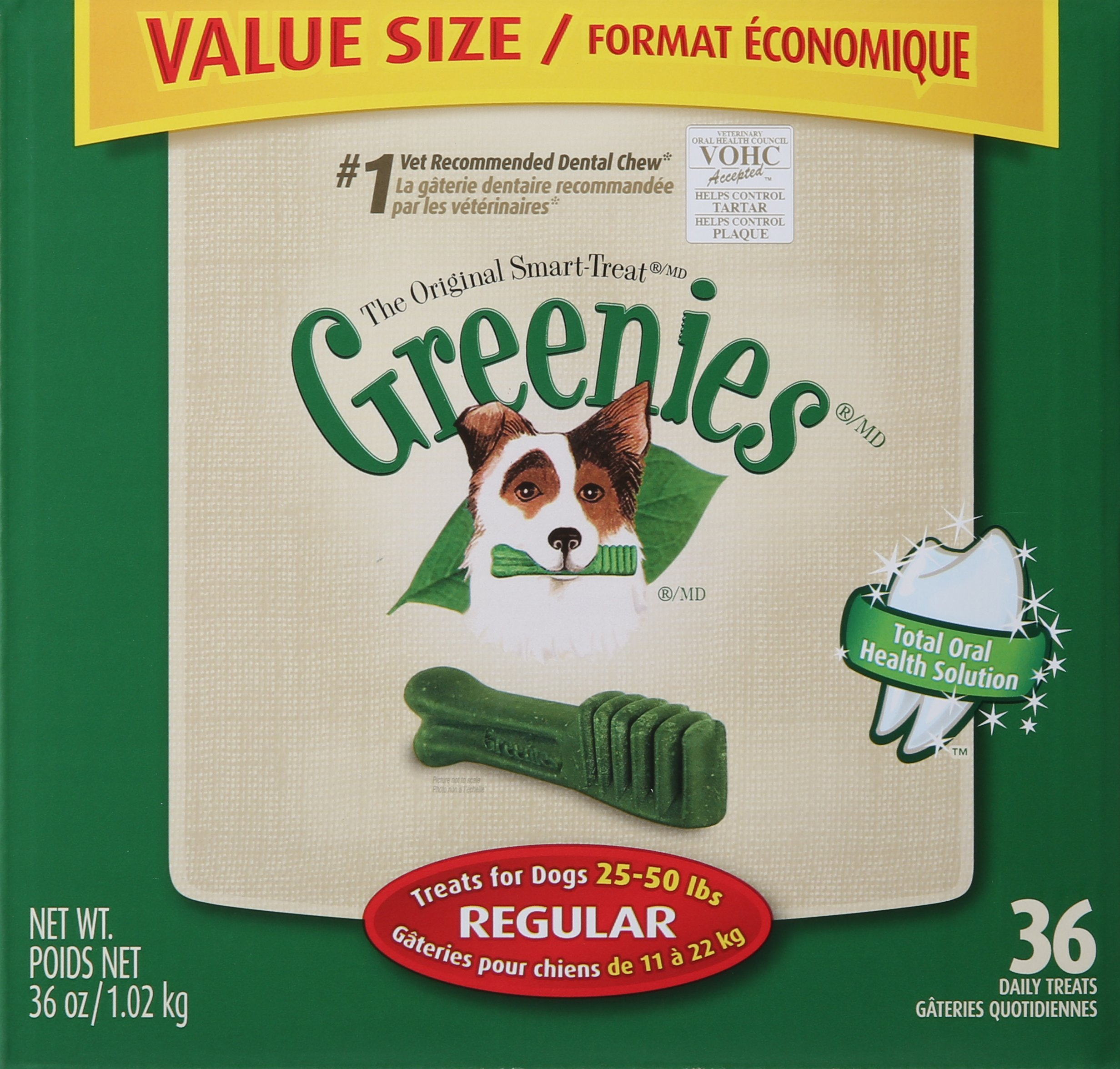 Greenies 108 Count 108-Ounce Dental Chews, Regular