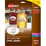 "Avery Print-To-The-Edge Glossy Oval Labels, True Print, 2""  x  3.3"", Pack of 80 Oval Labels (22820)"