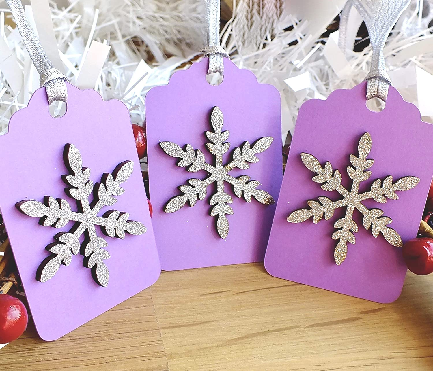 Christmas Gift Tags Handmade.3 X Silver Purple Wooden Snowflake Christmas Gift Tags