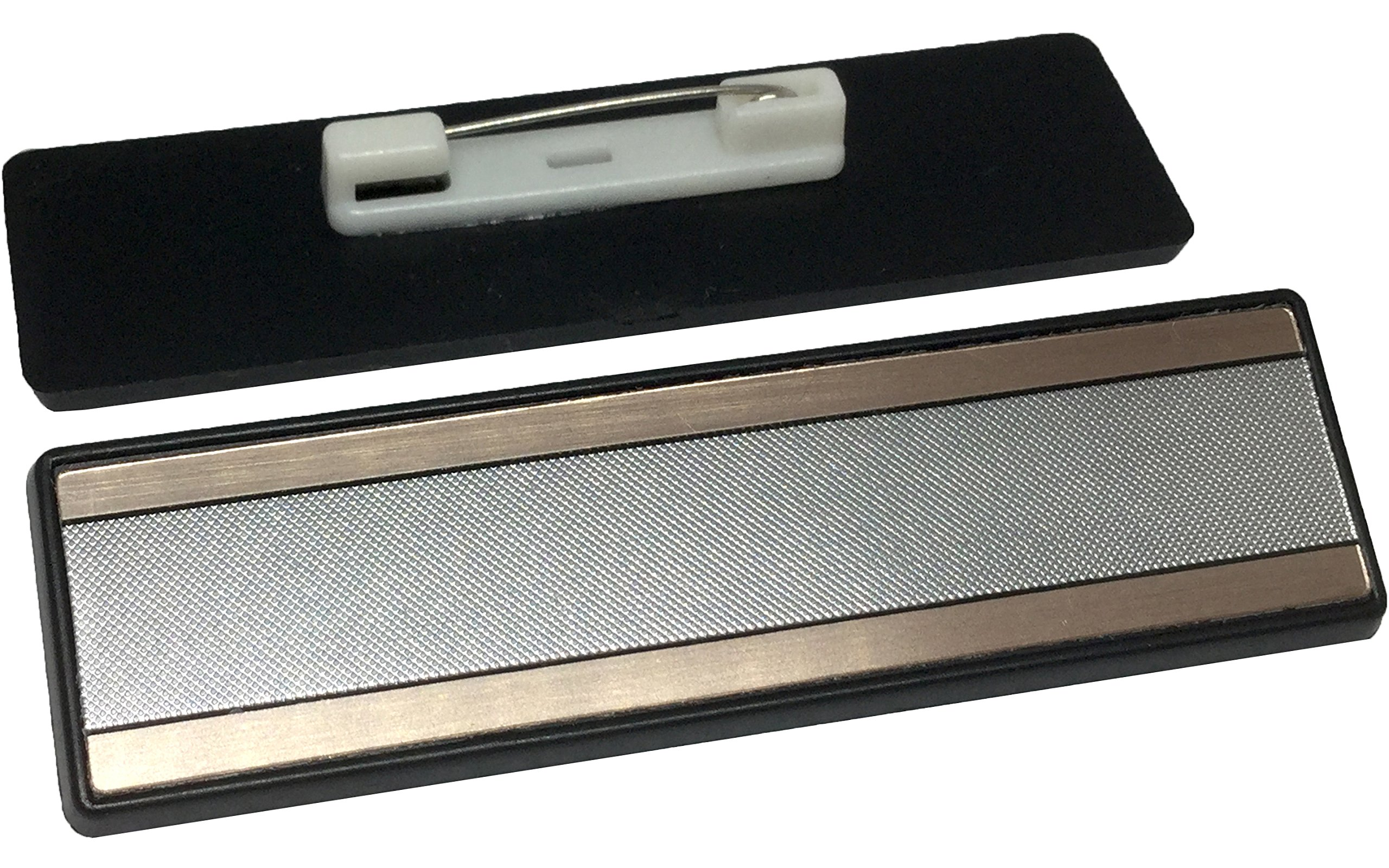 Name Tag/Badge Blanks - 25 Pack, Brushed Silver Gold Trim 1'' X 3'', Square Corners, Pin