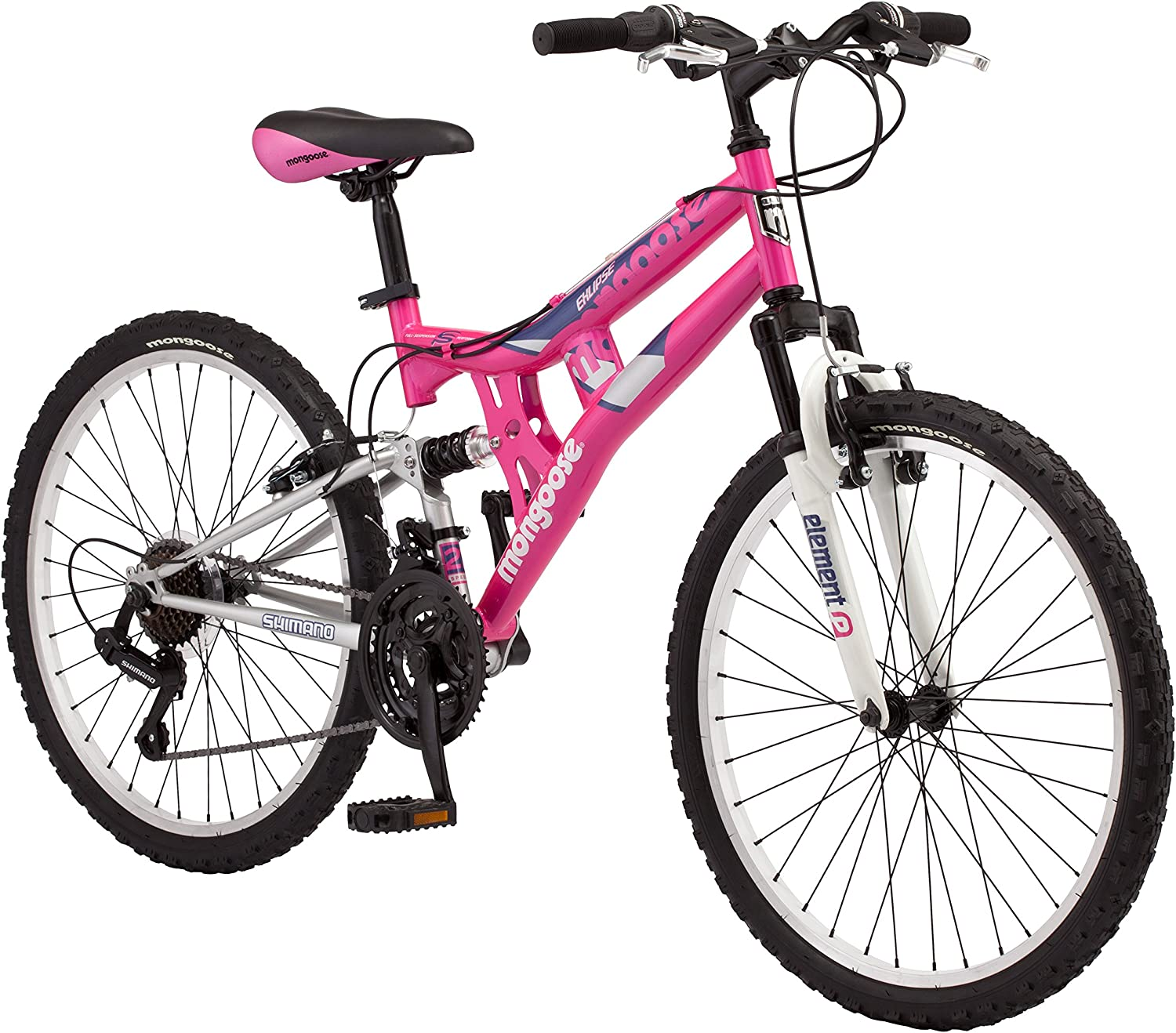 Mongoose Exlipse Full Dual-Suspension Mountain Bike for Kids, Featuring 15-Inch Small Steel Frame and 21-Speed Shimano Drivetrain with 24-Inch Wheels, Kickstand Included, Pink
