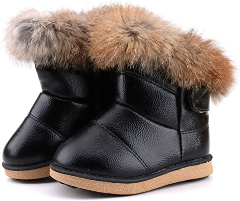 CHILDRENS GIRLS SCHOOL MID CALF WINTER BOOTS KIDS BLACK FLAT SOLE SHOES SIZE