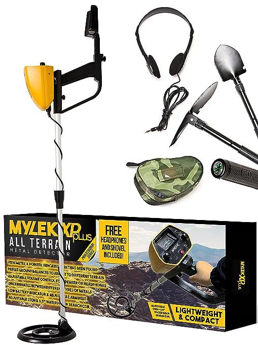 Detector de metales Mylek® XP pLus con auriculares y herramienta 3 en 1, detecta