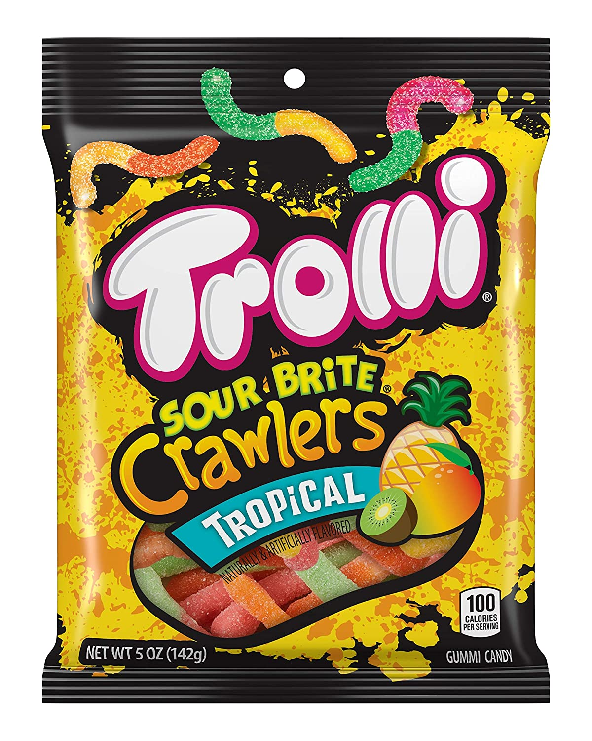 Trolli Sour Brite Crawlers Gummy Candy, Tropical, 5 Ounce, Pack of 12