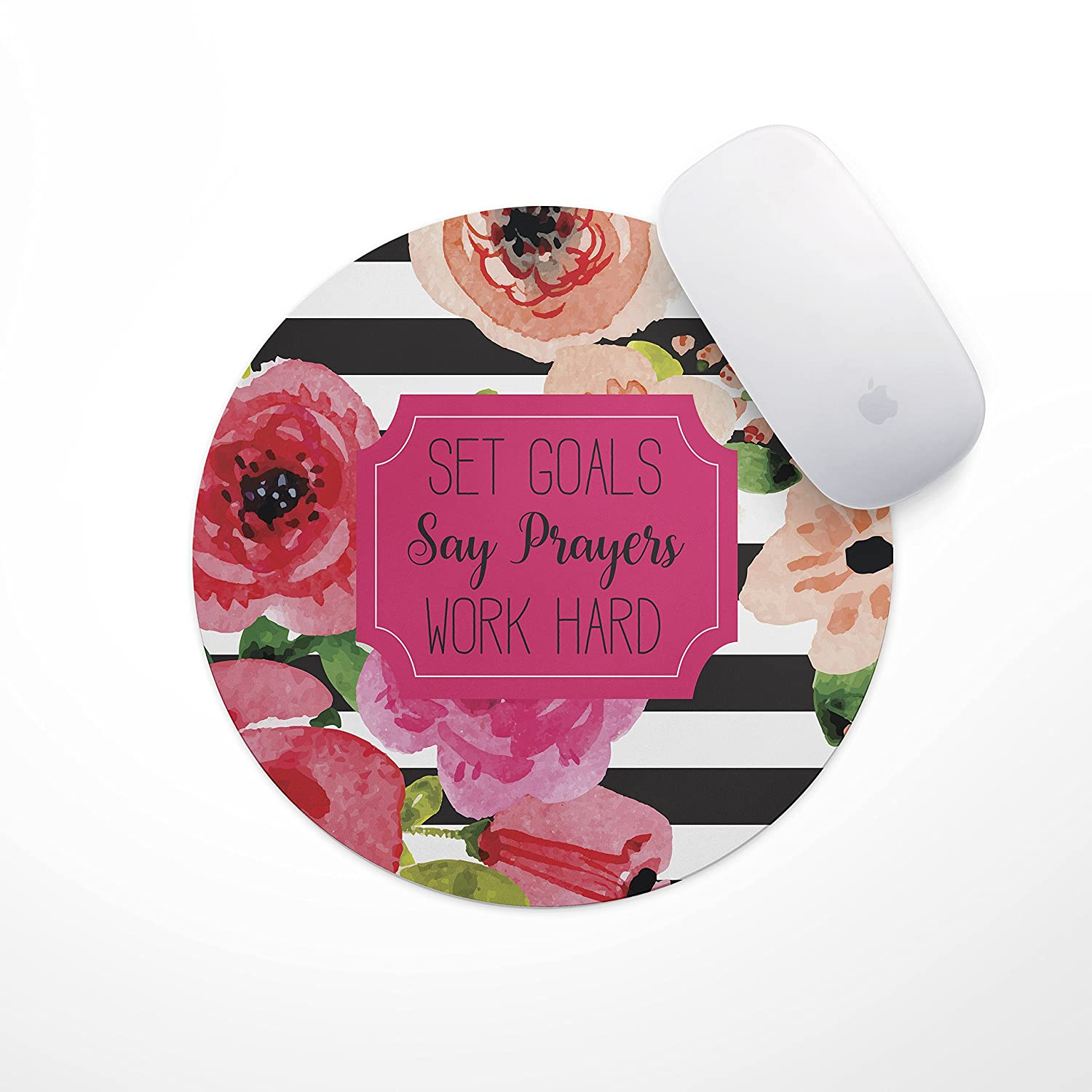 Set Goals Say Prayers Work Hard Floral Mouse Pad   Neoprene Inspirational Quote Mousepad, Office Space Decor, Home Office, Computer Accessories
