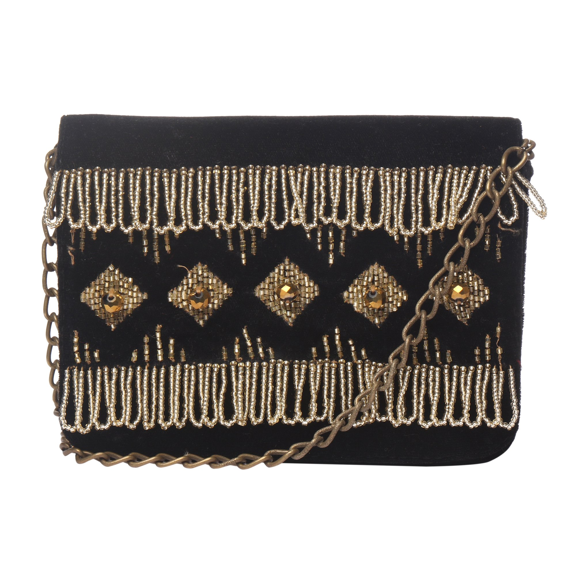 MONOKROME NEW YORK Hand beaded and Fringed Hard case ethnic black cross body with silver & gold beads clutch for women by