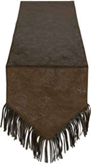 HiEnd Accents Faux Tooled Leather Western Table Runner