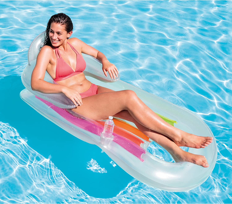 Intex King Kool Multi-Colored Inflatable Lounging Swimming Pool Float