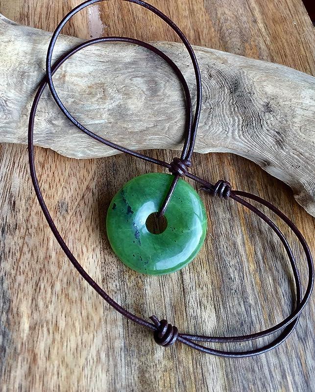 Australian Jade Pendant on leather cord.