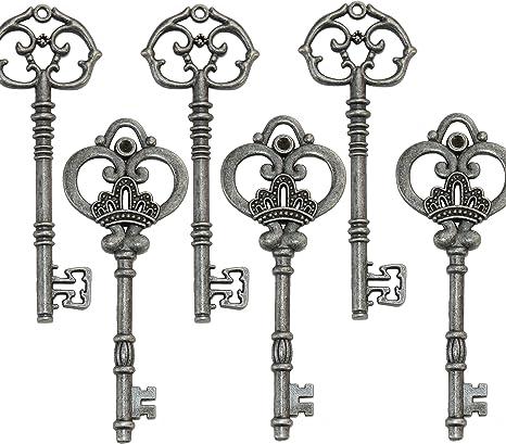 Old Fashioned Pendant Vintage Keys Key Charm Large Cast Iron Skeleton Key