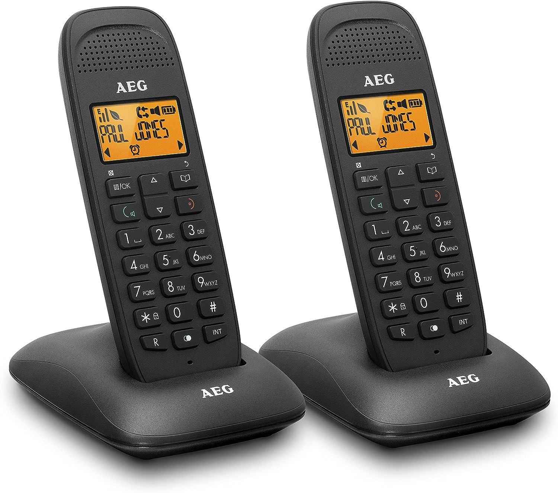 AEG Voxtel D85 Twin - Teléfono inalámbrico DECT con contestador automático: Pack de Dos, Negro: Aeg-Telecomunicacoes-Sa: Amazon.es: Electrónica