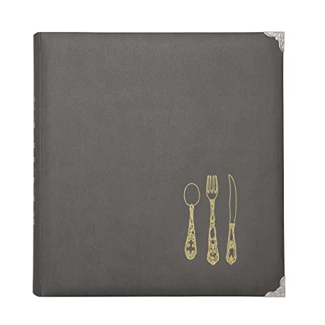 CR Gibson Gray Leatherette Lined Recipe Notebook, 11'' x 12''