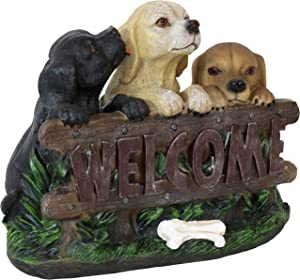 Sunnydaze Welcome Statue Three Puppies Indoor/Outdoor Decor - Patio, Porch Garden, Lawn and Yard Guest Greeter - Animal Sculpture for Foyer and Entryway
