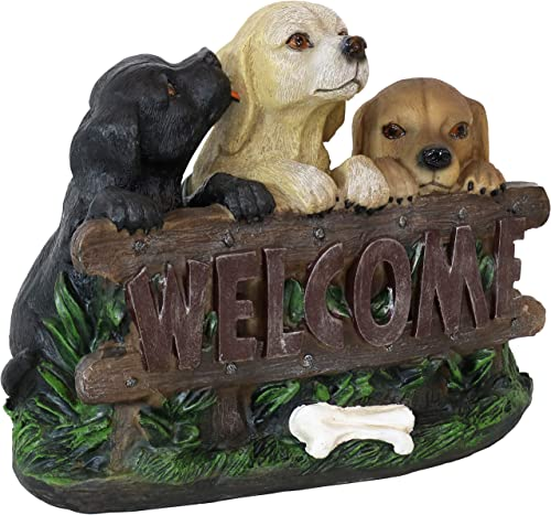 Sunnydaze Welcome Statue Three Puppies Indoor/Outdoor Decor